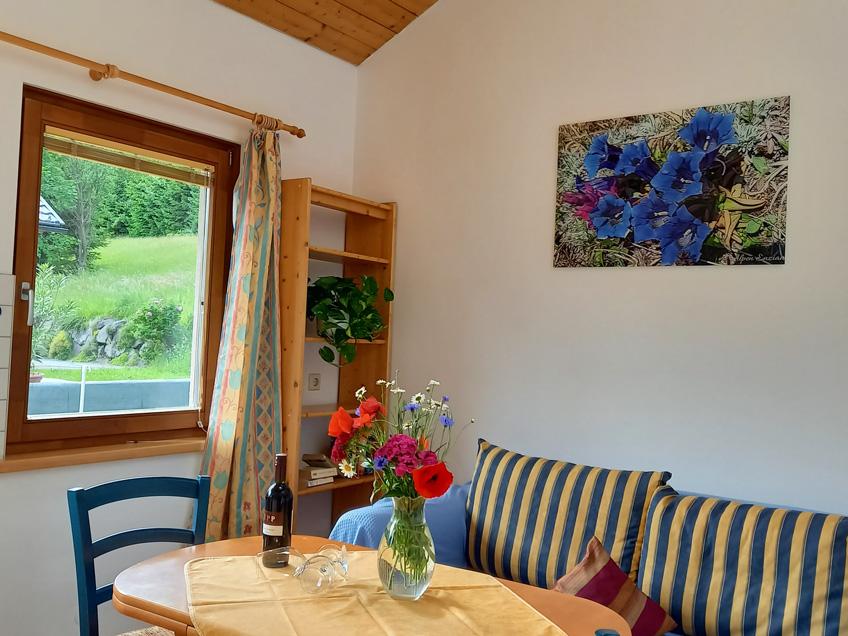 soggiorno dell'appartamento Enzian nella casa Waldhof